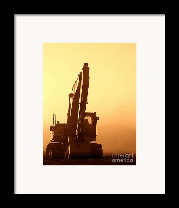 Excavator Framed Print featuring the photograph Sunset Excavator by Olivier Le Queinec
