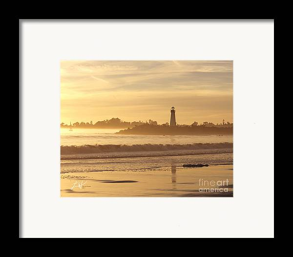 Capitola Framed Print featuring the photograph Sunset On The Lighthouse In Santa Cruz Harbor by Artist and Photographer Laura Wrede
