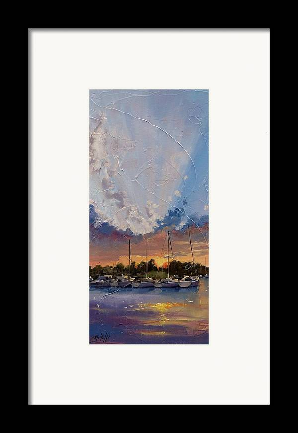 Sunset Framed Print featuring the painting Sunset Over Bay Point by Laura Lee Zanghetti
