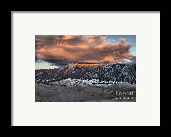 Great Sand Dunes National Park Framed Print featuring the photograph Sunset Over The Dunes by Adam Jewell