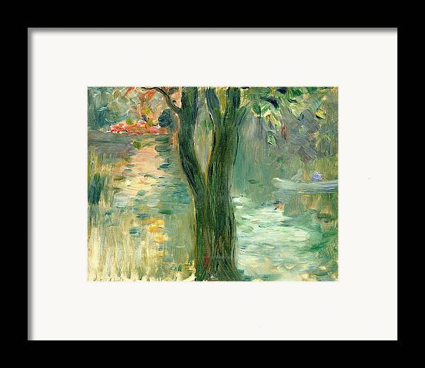 Setting Sun; Impressionist; Reflection Framed Print featuring the painting Sunset Over The Lake Bois De Boulogne by Berthe Morisot