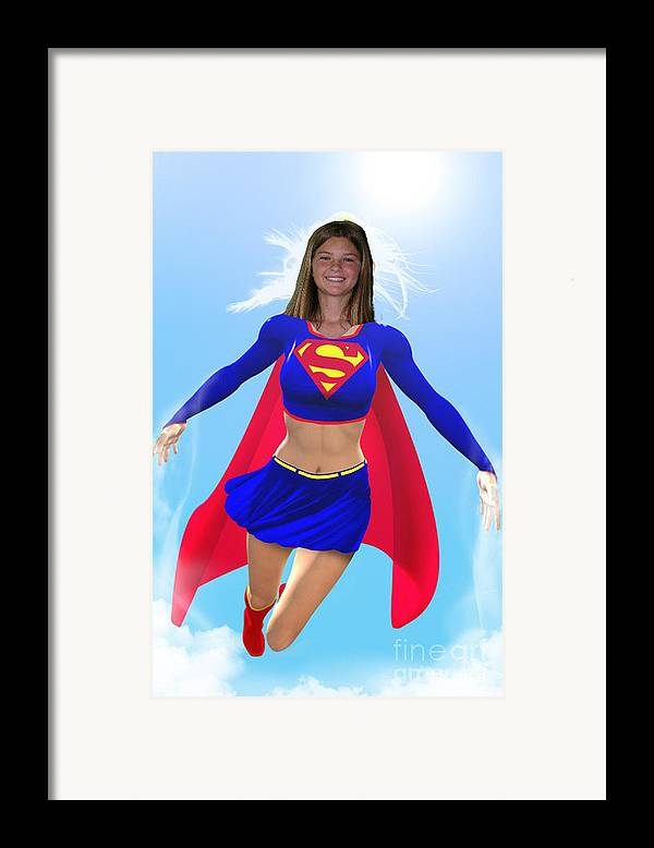 Superwoman Framed Print featuring the drawing Super Nina by Allan Hughes