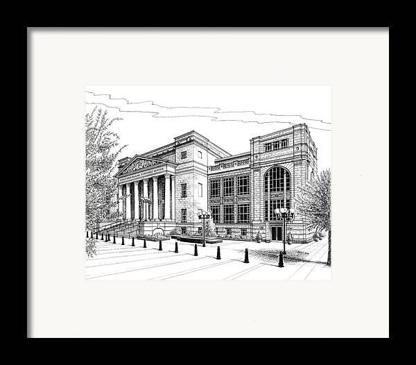 Architecture Framed Print featuring the drawing Symphony Center In Nashville Tennessee by Janet King