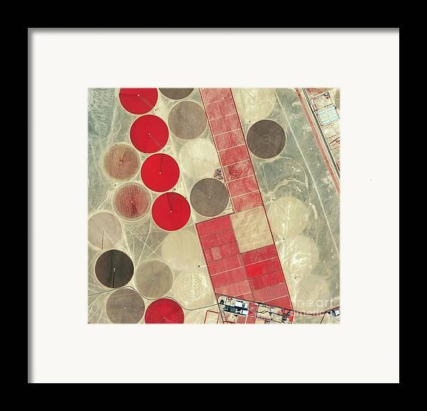Africa Framed Print featuring the photograph Tadco Farm Saudi Arabia Satellite by GeoEye