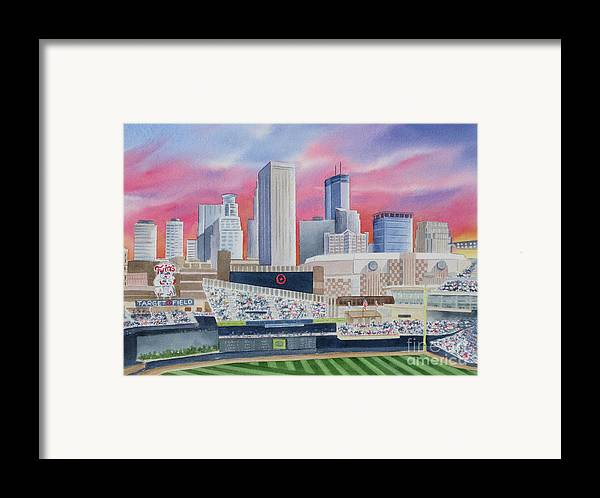 Target Field Framed Print featuring the painting Target Field by Deborah Ronglien