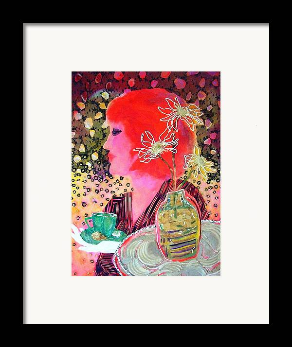Flowers In A Vase Framed Print featuring the mixed media Teabag by Diane Fine
