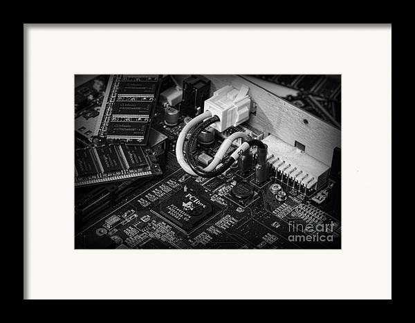 Board Framed Print featuring the photograph Technology - Motherboard In Black And White by Paul Ward