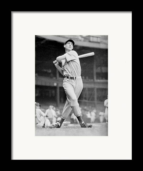 Ted Framed Print featuring the photograph Ted Williams Swing by Gianfranco Weiss