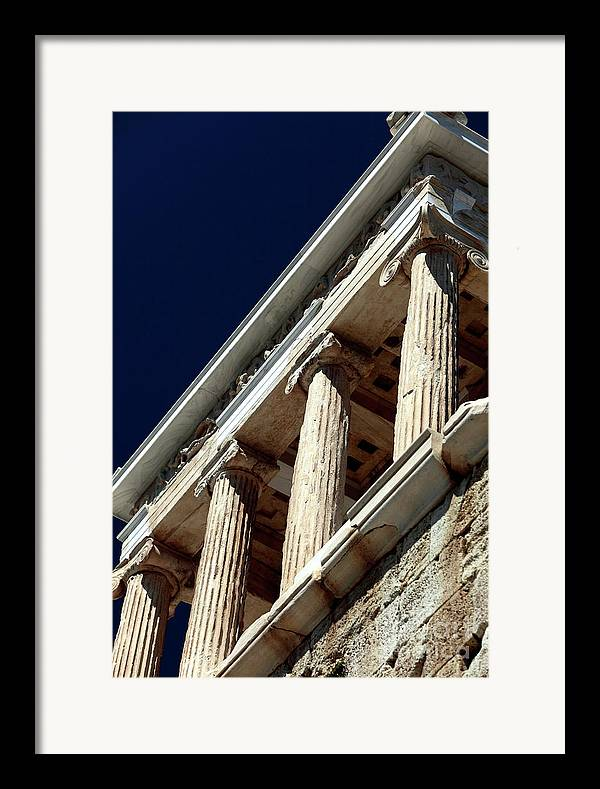 Temple Of Athena Nike Columns Framed Print featuring the photograph Temple Of Athena Nike Columns by John Rizzuto