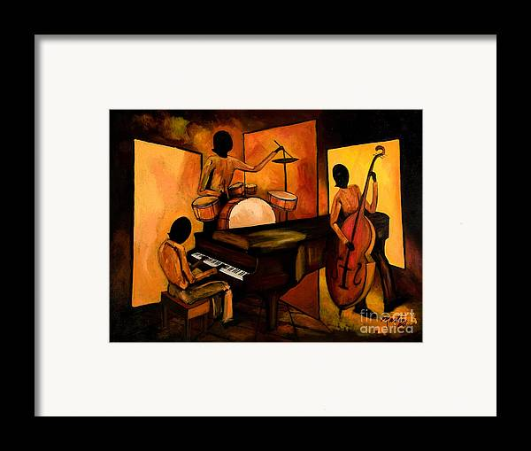 Jazz Framed Print featuring the painting The 1st Jazz Trio by Larry Martin