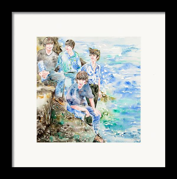 Beatles Framed Print featuring the painting The Beatles At The Sea Watercolor Portrait by Fabrizio Cassetta