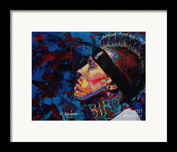 Chris Andersen Framed Print featuring the painting The Birdman Chris Andersen by Maria Arango
