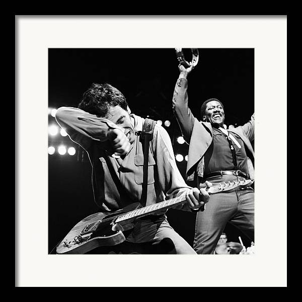 Bruce Springsteen Framed Print featuring the photograph The Boss And The Big Man by Chris Walter