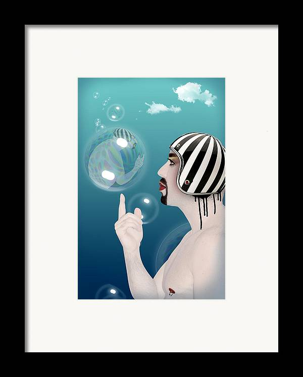 Funny Framed Print featuring the digital art the Bubble man by Mark Ashkenazi