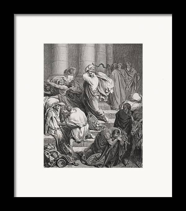 Jesus Framed Print featuring the painting The Buyers And Sellers Driven Out Of The Temple by Gustave Dore
