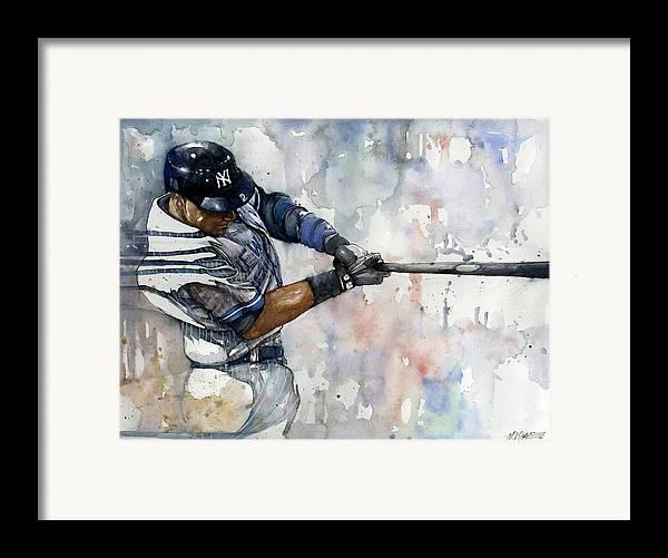 Derek Jeter Framed Print featuring the painting The Captain Derek Jeter by Michael Pattison