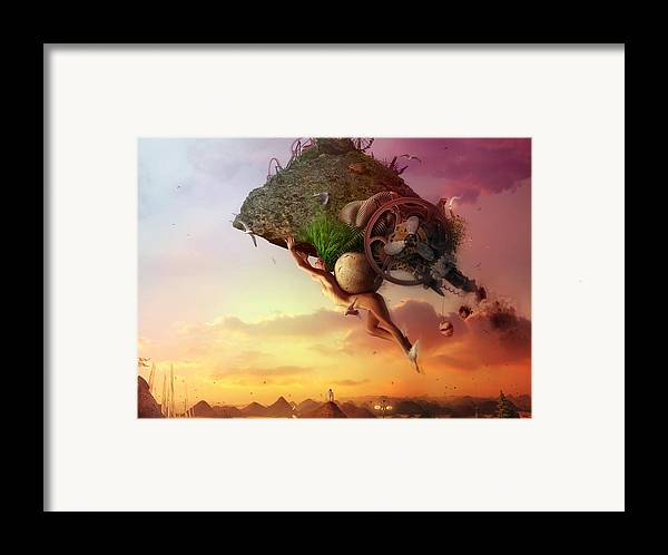 Flying Framed Print featuring the digital art The Carnival Is Over by Mario Sanchez Nevado