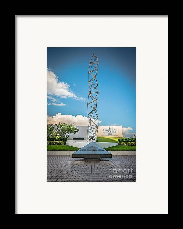America Framed Print featuring the photograph The Challenger Memorial - Bayfront Park - Miami - Hdr Style by Ian Monk