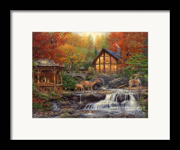 Cabin Framed Print featuring the painting The Colors Of Life by Chuck Pinson