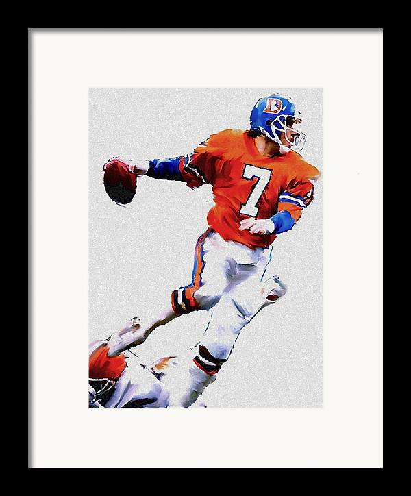 John Elway Framed Print featuring the painting The Drive John Elway by Iconic Images Art Gallery David Pucciarelli