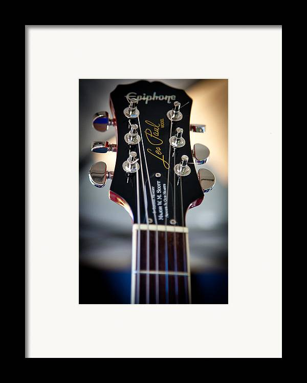 The Epiphone Les Paul Guitars Framed Print featuring the photograph The Epiphone Les Paul Guitar by David Patterson