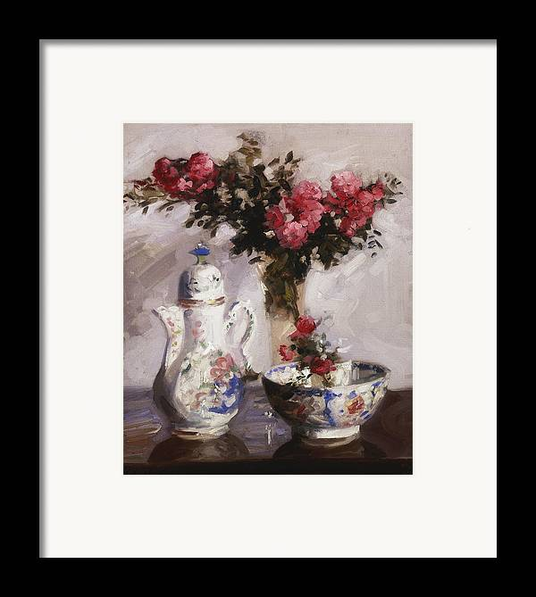 Cadell Framed Print featuring the painting The Famille Rose Coffee Pot by Francis Campbell Boileau Cadell
