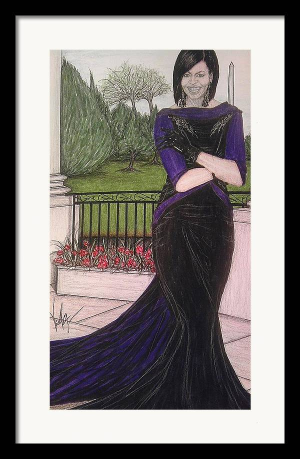 Michelle Obama Framed Print featuring the drawing The First Lady Michelle Obama In Victoria Renee's Fashion by Vicki Jones