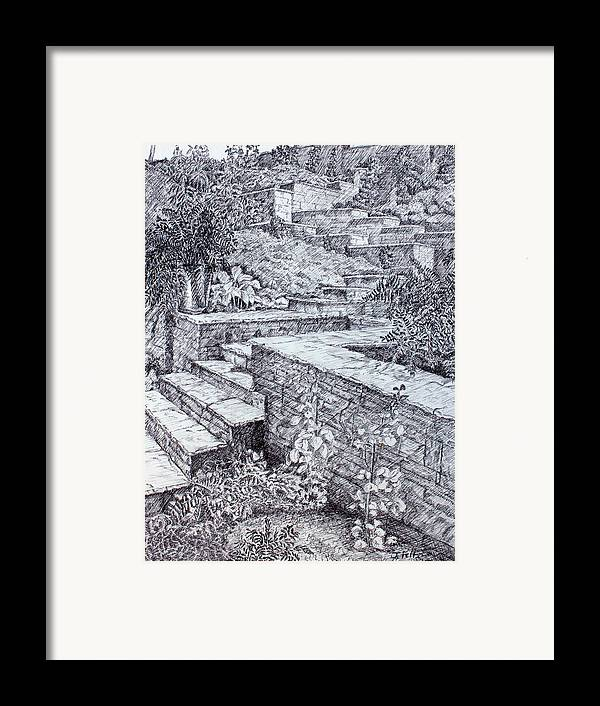Garden Framed Print featuring the drawing The Garden Wall by Janet Felts
