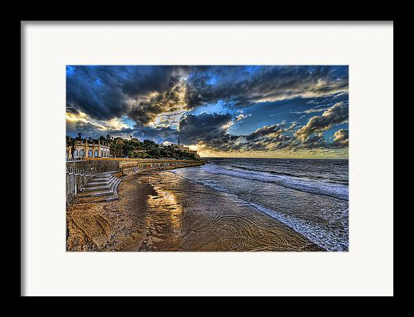Israel Framed Print featuring the photograph the golden hour during sunset at Israel by Ronsho