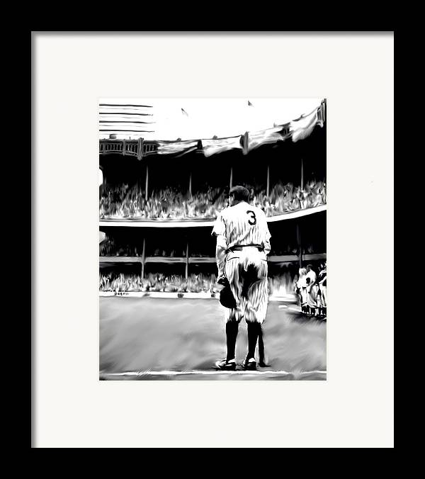 Babe Ruth Framed Print featuring the painting The Greatest Of All Babe Ruth by Iconic Images Art Gallery David Pucciarelli