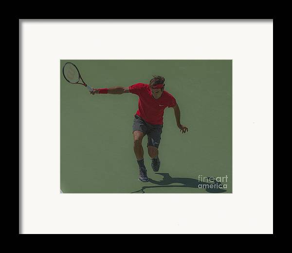 Roger Federer Framed Print featuring the photograph The King Of Tennis by Terry Cosgrave