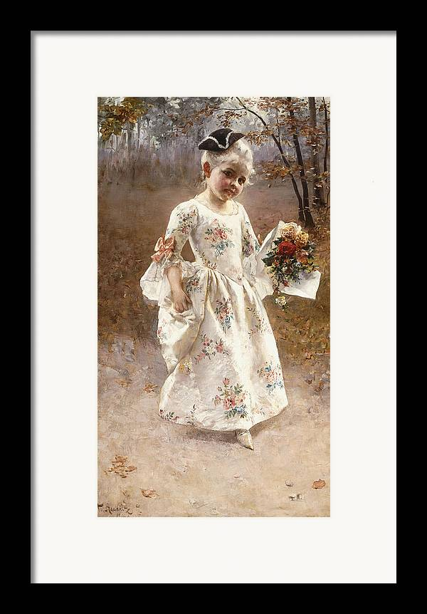 Little; Flower; Girl; Female; Child; Children; Portrait; Standing; Full Length; Young; Youth; Posy; Bouquet; Flower; Flowers; Floral; Silk; Dress; Hat; Walking; Wooded; Landscape; Coquettish; Coy; Woods; Leaves Framed Print featuring the painting The Little Flower Girl by Albert Raudnitz
