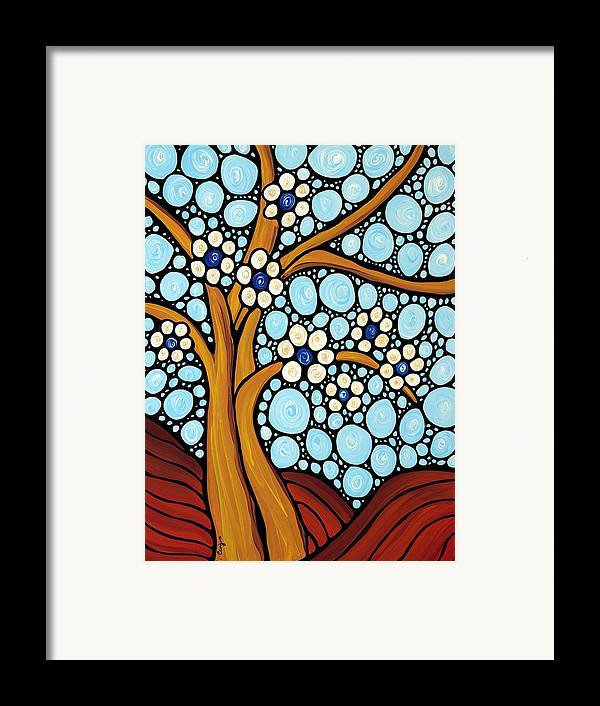 Flower Framed Print featuring the painting The Loving Tree by Sharon Cummings