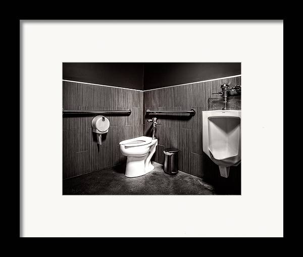 Architecture Framed Print featuring the photograph The Mens Room by Bob Orsillo
