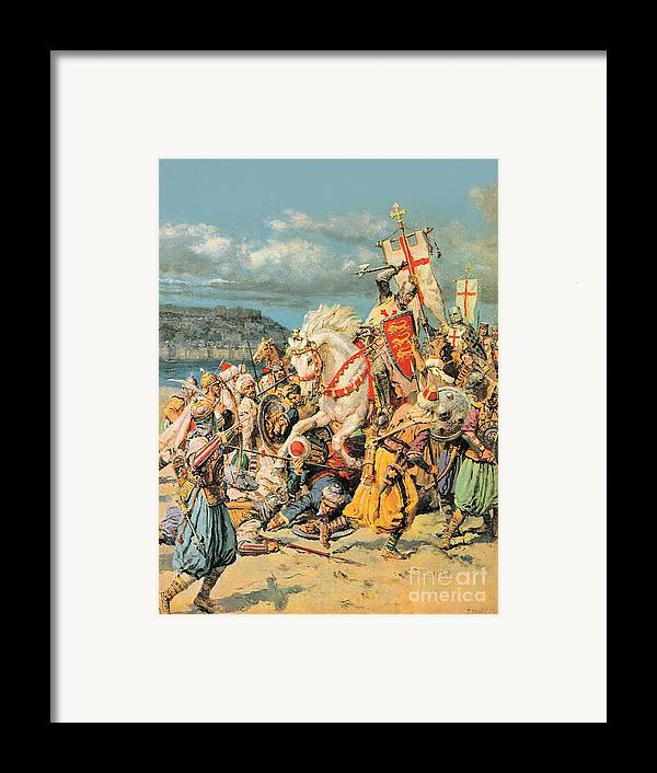 Mighty Framed Print featuring the painting The Mighty King Of Chivalry Richard The Lionheart by Fortunino Matania