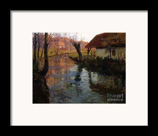 Mill; Stream; River; House; Thatched; Cottage; Bend; Reflection; Reflections; Ripple; Ripples; Water; Autumn; Autumnal; Dusk; Evening; Sunset; Atmospheric; Idyllic; Rural; Countryside; Fall Framed Print featuring the painting The Mill Stream by Fritz Thaulow