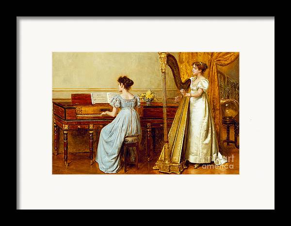 Music; Room; Interior; Female; Musician; Musicians; 19th; 20th; Harp; Harpist; Piano; Pianist; Musical Instrument; Instruments; Recital; Playing; Performing Framed Print featuring the painting The Music Room by George Goodwin Kilburne