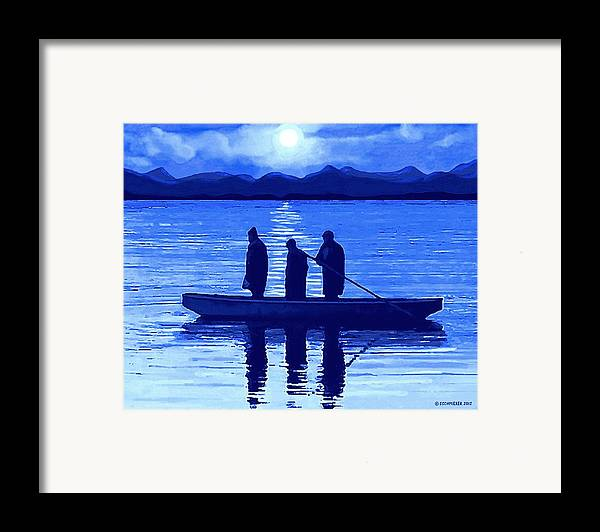 Fishing Framed Print featuring the painting The Night Fishermen by SophiaArt Gallery