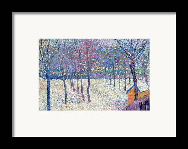 Pointillist Framed Print featuring the painting The Orchard Under The Snow by Hippolyte Petitjean