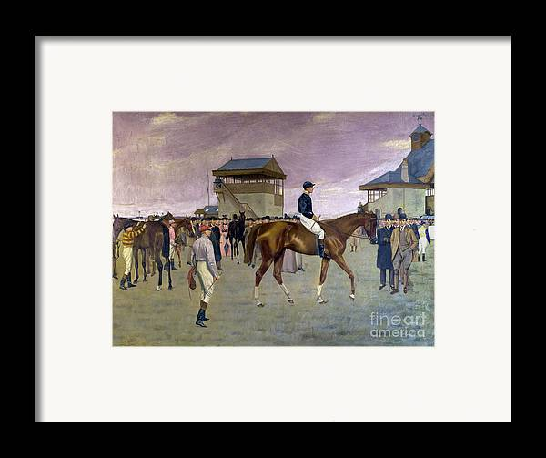 Racehorse Framed Print featuring the painting The Owner S Enclosure Newmarket by Isaac Cullen