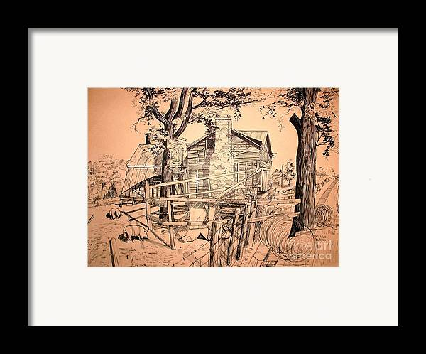 The Pig Sty Framed Print featuring the drawing The Pig Sty by Kip DeVore