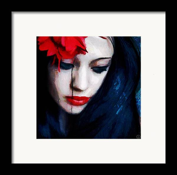 Woman Framed Print featuring the digital art The Red Flower by Gun Legler