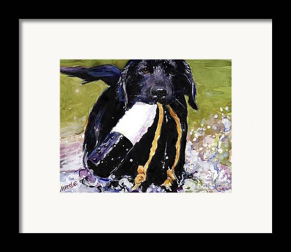 Black Lab Puppy Framed Print featuring the painting The Ropes by Molly Poole
