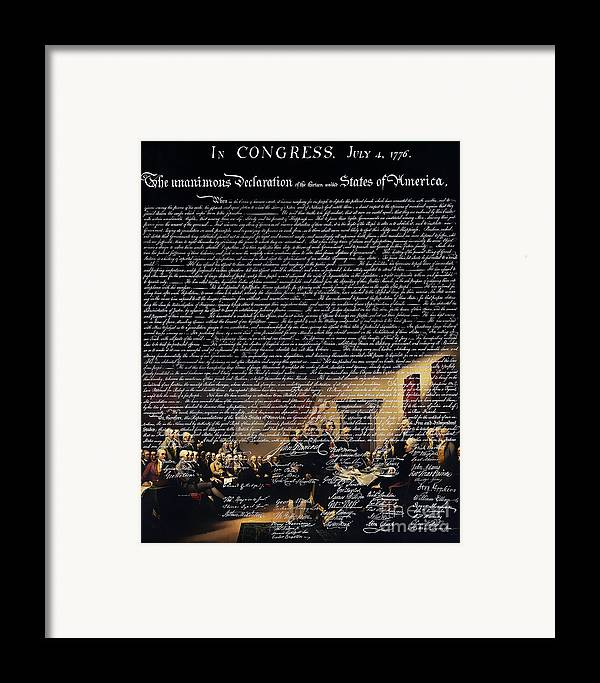 Usa Framed Print featuring the photograph The Signing Of The United States Declaration Of Independence V2 by Wingsdomain Art and Photography