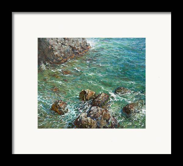 Landscape Framed Print featuring the painting The Surf by Korobkin Anatoly
