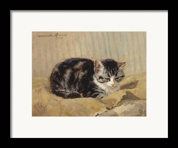 Cat Framed Print featuring the painting The Tabby by Henriette Ronner-Knip