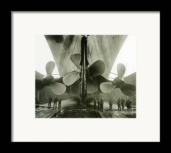 Engineering; Building; Shipyard; Disaster; Sea; Tragedy; Tragic; Transatlantic; Liner; Drydock; Dry Dock; Propeller Framed Print featuring the photograph The Titanics Propellers In The Thompson Graving Dock Of Harland And Wolff by English Photographer