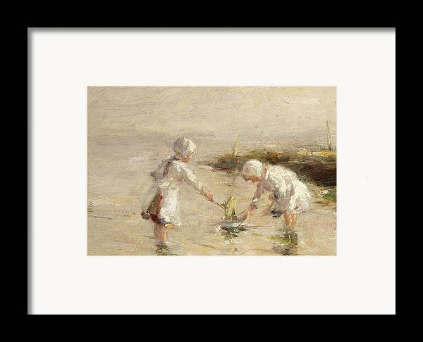 Seaside Framed Print featuring the painting The Toy Boat by Robert Gemmel Hutchison