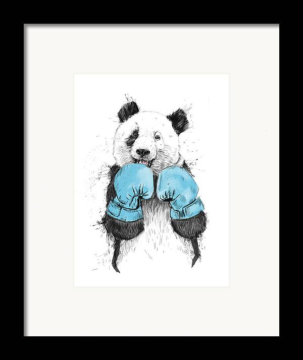 Panda Framed Print featuring the drawing The Winner by Balazs Solti