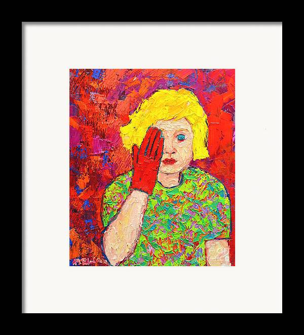 Girl Framed Print featuring the painting There's No Comfort In The Truth by Ana Maria Edulescu
